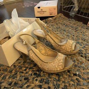 Tan lace heels